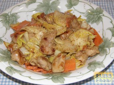 鶏肉と白菜のシーザードレッシング炒め