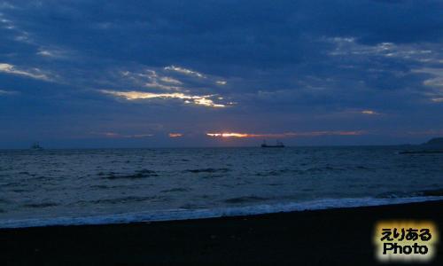 館山北条海岸からの夕陽