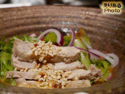 蒸し鶏サラダ仕立て 担々麺のおうどん@つるとんたん 東京ビル店