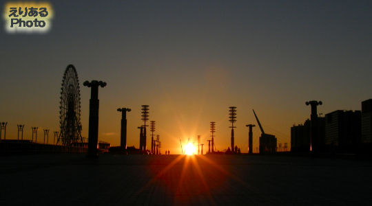 夢の大橋に沈む夕陽